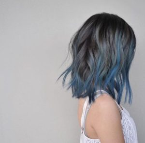 blue grey balayage