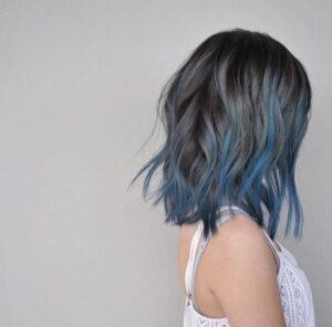 blue grey balayage