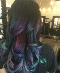 bright oil slick balayage