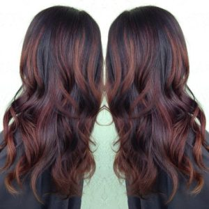 dark brown with red highlight