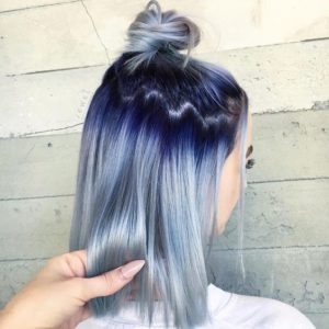 dark to silver blue hair