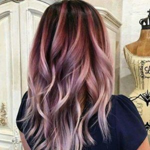 high contrast cool rose balayage