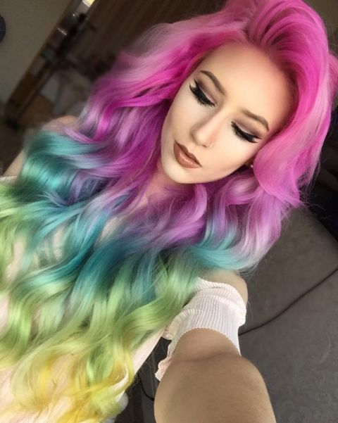 colored hair style rainbow hair 30 rainbow hair color inspirations 9380