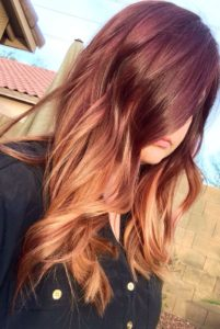 maroon with ginger balayage