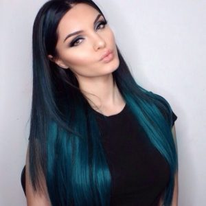 peacock blue hair