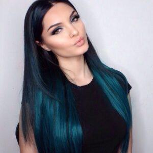 peacock blue hair