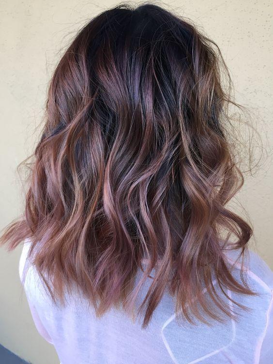 Rose Gold Highlights On Dark Hair