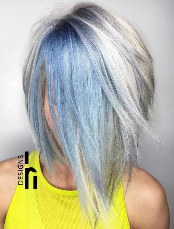 Grey Hair With Blue Highlights Hair Color Ideas And Styles