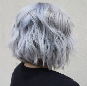 smokey silver blue hair