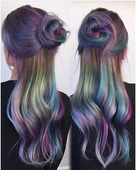 Oil Slick Hair The Epic New Rainbow Hair Technique Part 21