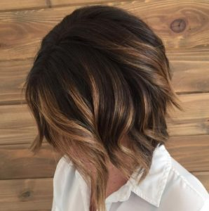 Golden balayage bob