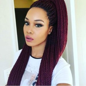 Long Burgundy Braids