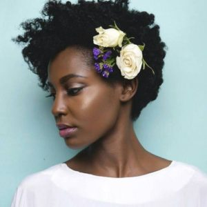 Natural Curls With Floral Accessory
