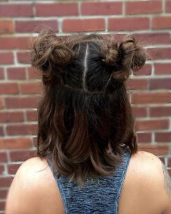 half up pigtail buns