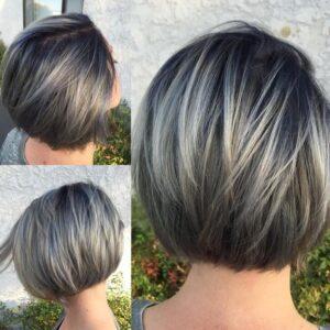 silvery grey bob
