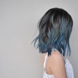 teal and denim balayage