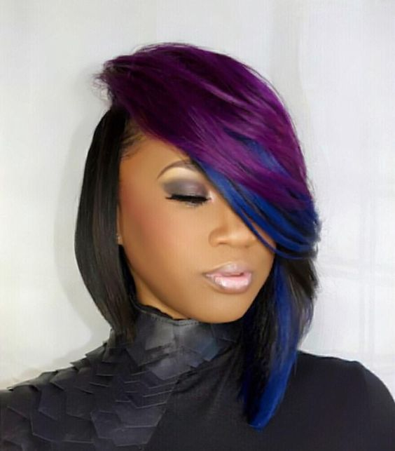 Layered Color In Vibrant Violet And Deep Shire Help To Elevate This Sew Hairstyle From A Sophisticated Asymmetrical Bob Show Stopping Sensation
