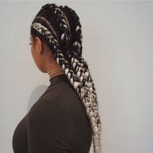black and white braids