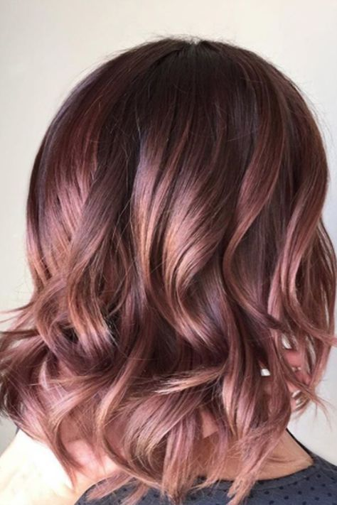 If You Were Dying To Try The Rose Gold Hair Trend But It Seems Like Too Much Of A Leap From Your Dark Brunette Base Color This Chocolate Mauve Offers