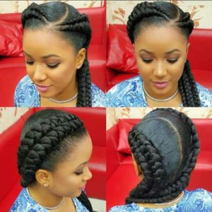 chunky doubled up braids