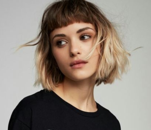 edgy blonde ombre bob
