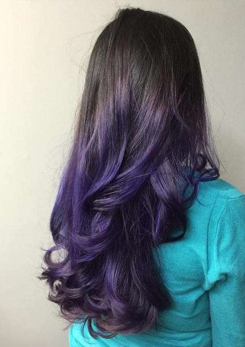 Another Lovely Example Of A Subtle Purple Ombre On Dark Hair This Deep Eggplant Shade Creates And Luxurious Looking Style
