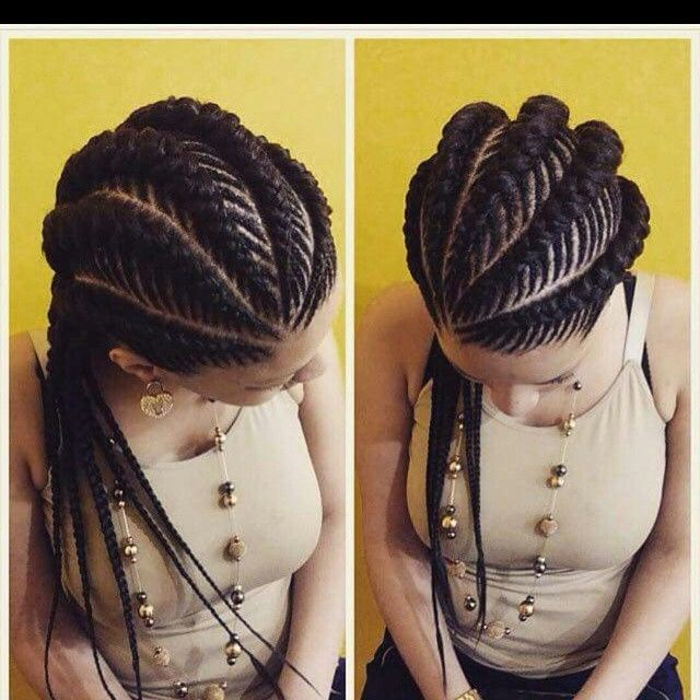 Big Cornrows Natural Hairstyle For Round Face