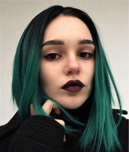 green ombre hairstyle