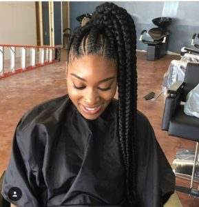 high ghana braid ponytail