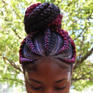 red braids high bun