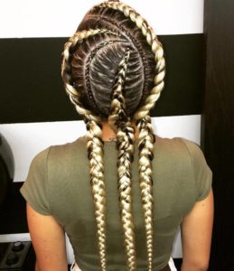 triple blonde braids