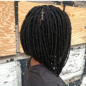 A line box braid bob