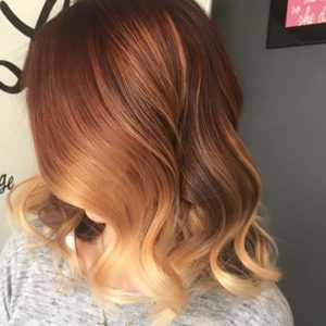 Coppery blonde color melt