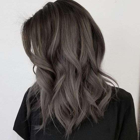Cool Ashy Brown Hair Provides The Perfect Backdrop For Dark Gray Highlights Give This Style A Try If You Want To Wear Your In Color That S