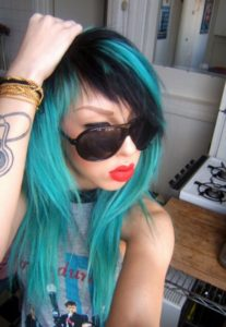 black and teal emo layers