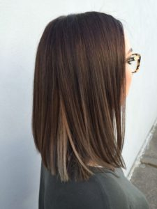 blunt lob with peekaboo blonde