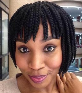 box braid bob with bangs