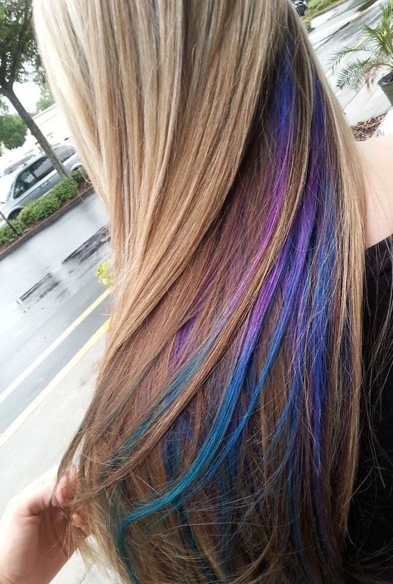 35 gorgeous peekaboo highlights to enhance your hair part 3 the rainbow hair trend allows experimentation with any colors youd like but it can be tough to pull off on a full head of hair using a peekaboo highlight solutioingenieria Image collections