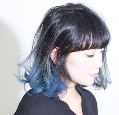 A Medium Shade Of Denim Blue Against Naturally Dark Hair Makes For Chic Dip Dye Hairstyle That You Ll Want To Keep Around Months