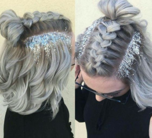 dutch braided bangs with glitter