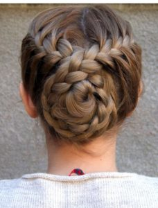 french braids spiral bun