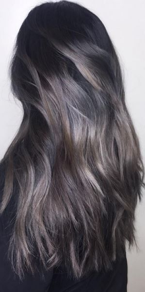 This Dark Ash Brown Hairstyle Almost Sparkles Thanks To Expertly Lied Highlights In Lighter And Dove Gray Colors