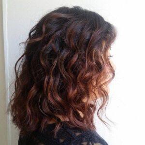 mahgoany balayage curls