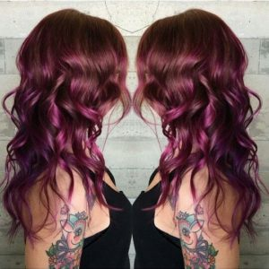 mahogany with purple ombre