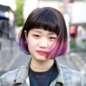 pink and purple dip dye bob