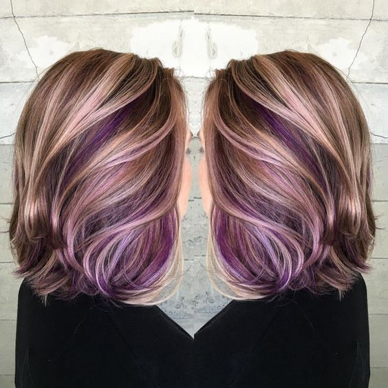 35 gorgeous peekaboo highlights to enhance your hair part 9 with lots of purple applied throughout hairs inner layers this blonde bob is one of the most bold uses of peekaboo highlights run your hands through your solutioingenieria Image collections
