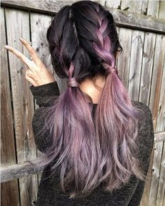 purple ombre french braids