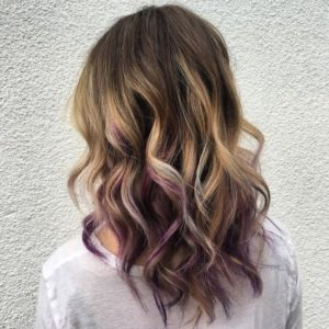 purple peekaboo balayage