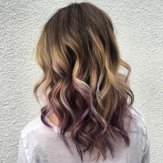 35 gorgeous peekaboo highlights to enhance your hair part 27 this look pairs a blonde balayage highlight with some purple peekaboo streaks in the hairs lower solutioingenieria Image collections
