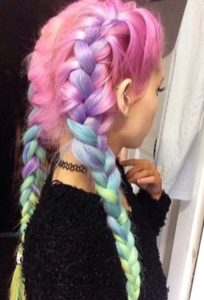 rainbow french braids